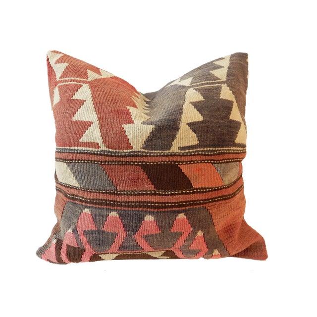 Old Caucasian Tribal Kilim Pillow - Image 7 of 9