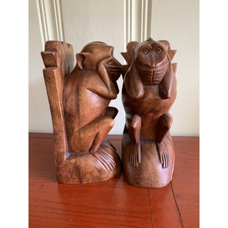 Wood Carved Monkey Bookends- a Pair Preview