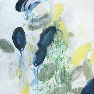 """Alex K. Mason """"Napa"""" Abstract Floral Mixed Media Painting on Unframed Stretched Canvas For Sale"""