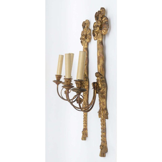 Gold Italian Giltwood Bow Sconces - A Pair For Sale - Image 8 of 10