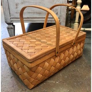 Vintage Wood Picnic Basket Preview