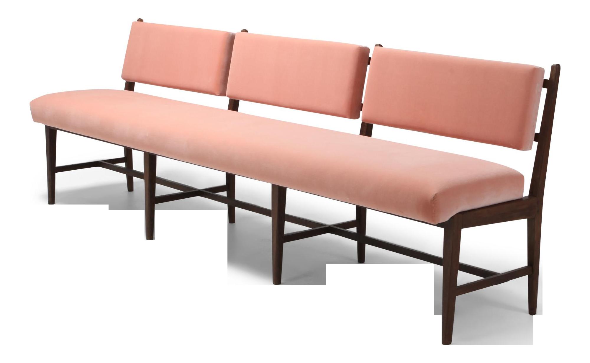 Midcentury Scandinavian Modern Bench In Pink Velvet And Wenge