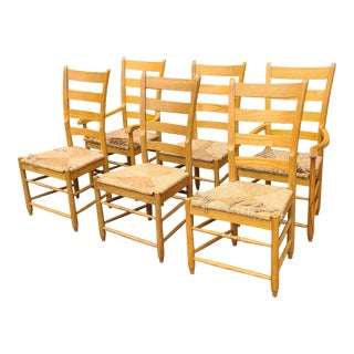Set 6 Solid Oak Rush Seated Ladder Back Country Dining Room Chairs C1990s For Sale