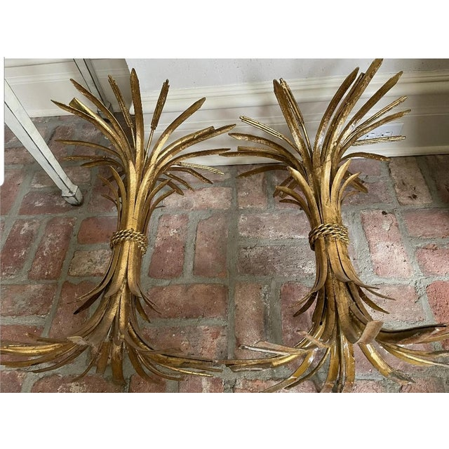 Hollywood Regency 1960s Hollywood Regency Sheaf of Wheat Side Tables - a Pair For Sale - Image 3 of 5
