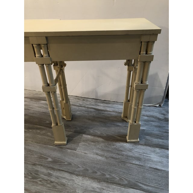 Elegant Long and Narrow Painted Faux Bamboo and Wood Console Table For Sale - Image 10 of 10