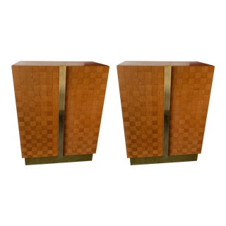 1980s Italian Wood and Brass Cabinets by Giorgetti- a Pair For Sale