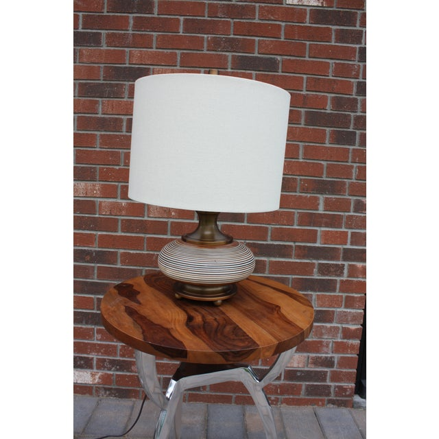 Boho Chic Squat Bronze Table Lamp For Sale In New York - Image 6 of 6