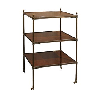 English Vintage Brass and Mahogany Three-Tiered Trolley Raised on Casters