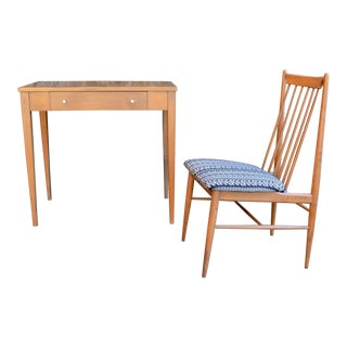 1950s Mid Century Modern Baumritter Writing Desk and Matching Chair - 2 Pieces For Sale