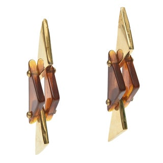 Tortoise Lucite and Brass Plated Dangle Sculptural Earrings - a Pair For Sale