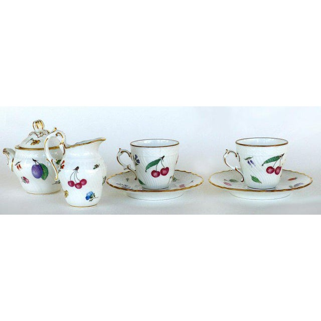 """Offered for sale is a Richard Ginori (Italy) lidded sugar bowl, creamer, pair of cups and saucers. Covered Sugar, 4""""H;..."""