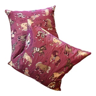 Tyler Hall Horse Burgundy Pillows - A Pair For Sale