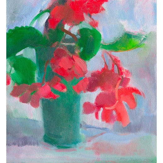 Scarlet begonias in a blue green vase, a print of an oil painting by Amy Griffith Colley