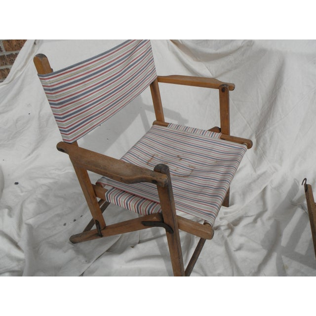 Antique Canvas Steamer Chair & Footrest For Sale In Chicago - Image 6 of 8