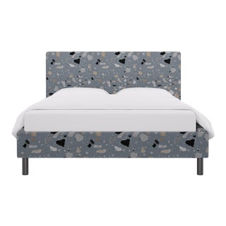 Queen Tailored Platform Bed in Dusty Blue Sperduti For Sale