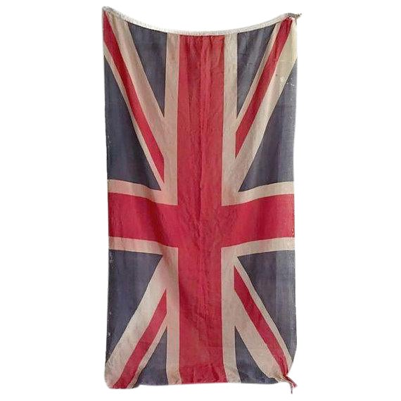 Mid Century Modern Union Jack Flag Distressed Uk British Flag 8 Ft For Sale