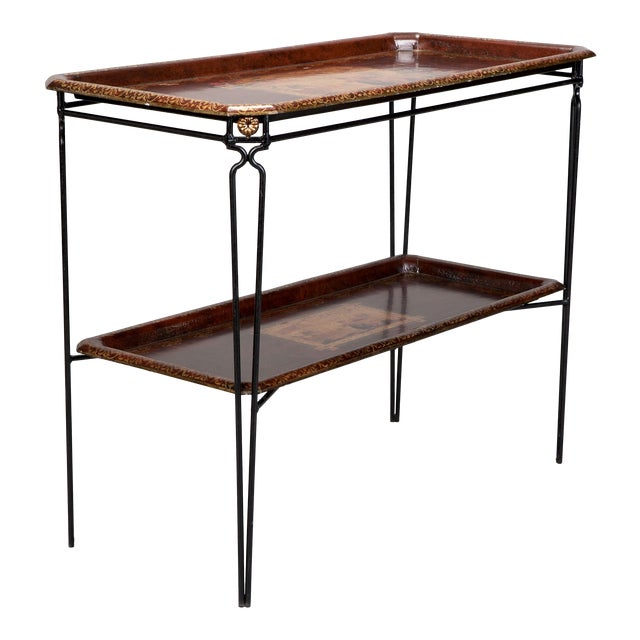 French Two Tier Metal Tole Tray Console or Accent Table For Sale