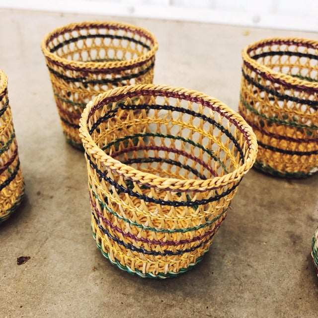 1970s Basketweave Cups / Plant Holders For Sale - Image 4 of 7