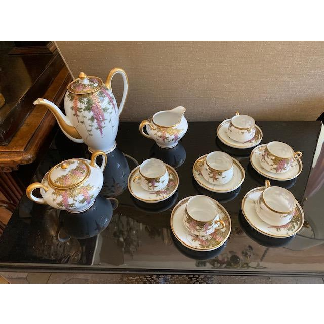 Vintage Porcelain Japanese Satsuma Hand Painted Tea Set - Set of 15 For Sale - Image 10 of 12