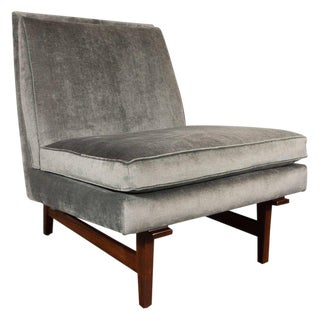 Midcentury Slipper Chair in Hand Rubbed Walnut & Sage Velvet by Jens Risom