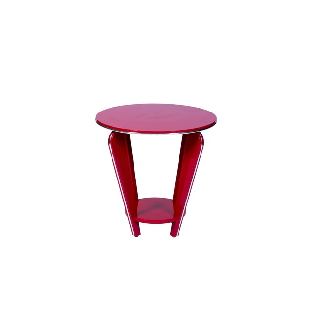 Art Deco Art Deco Style Side Table in Crimson Lacquer For Sale - Image 3 of 5