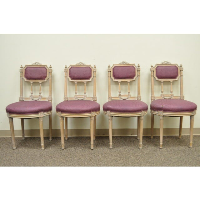 Vintage French Louis XVI Style Drape & Bow Carved Painted Dining Chairs - Set of 4 - Image 2 of 11
