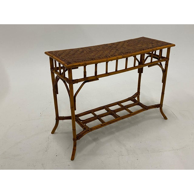 Organic Modern Bamboo and Rattan Console For Sale - Image 12 of 12