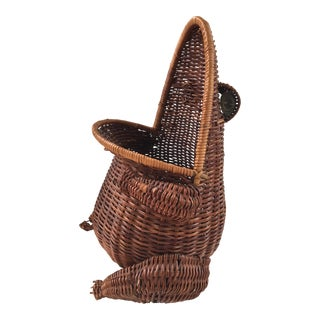 Large - Boho Chic Vintage Natural Wicker Wide Mouth Frog Basket For Sale
