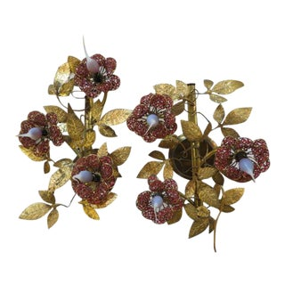 1960s Wall Sconces With Jeweled Flowers and Gold Leaves - a Pair For Sale