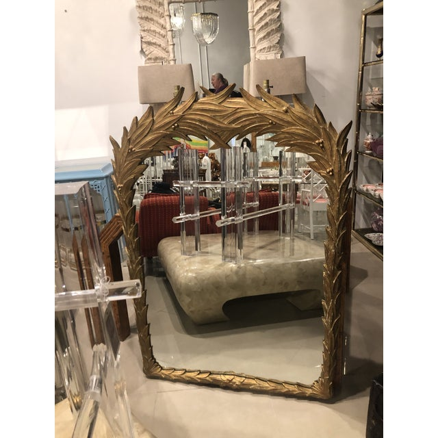 Vintage Gold Lacquered Palm Frond Wall Mirror For Sale - Image 12 of 12