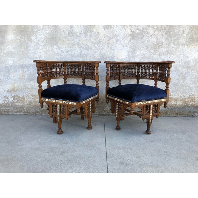 1950s Vintage Moroccan Mother of Pearl Velvet Corner Chairs - A Pair For Sale - Image 12 of 12