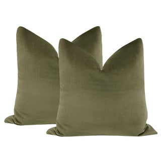 "22"" Bayleaf Velvet Pillows - a Pair For Sale"