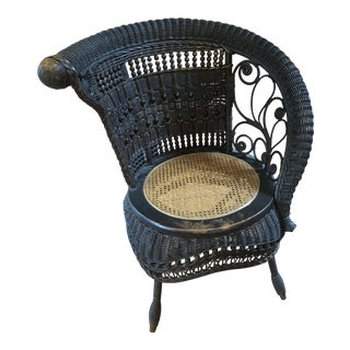 1950s Vintage Victorian Wicker Arm Chair For Sale