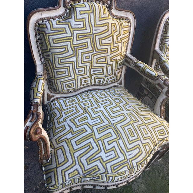 Early 19th C. Italian Painted Carved Arm Chairs- A Pair For Sale In Los Angeles - Image 6 of 12