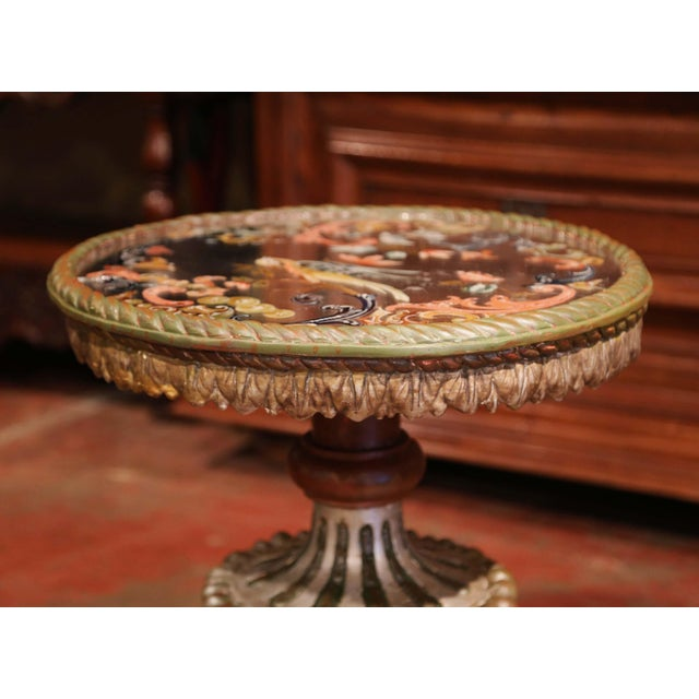 19th Century Italian Carved Giltwood and Painted Side Table With Eglomise Top For Sale - Image 4 of 8