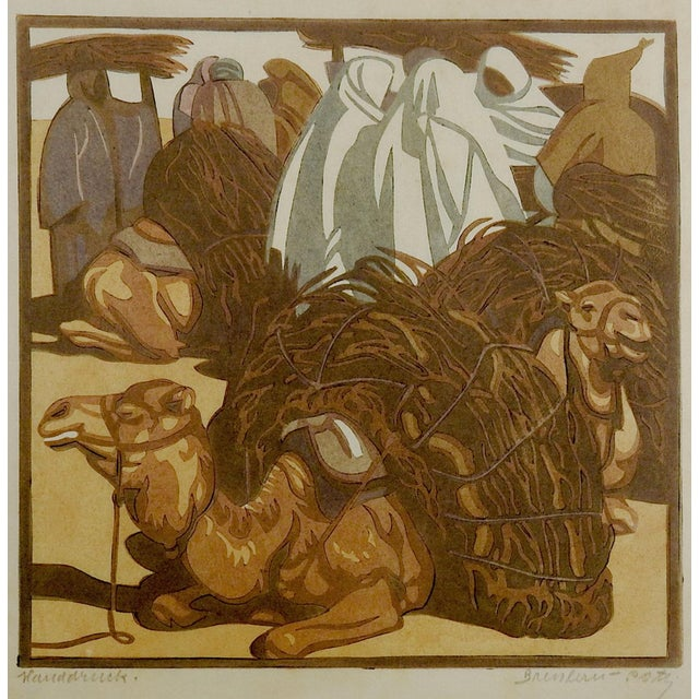 1920s Norbertine Von Bresslern-Roth Camel Woodcut For Sale - Image 5 of 5
