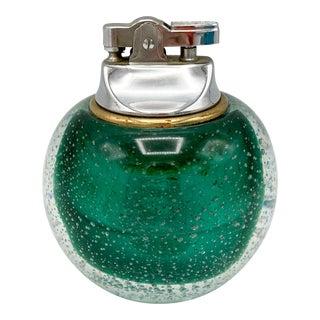 1960s Mid Century Italian Murano Glass Emerald Green Table Lighter For Sale