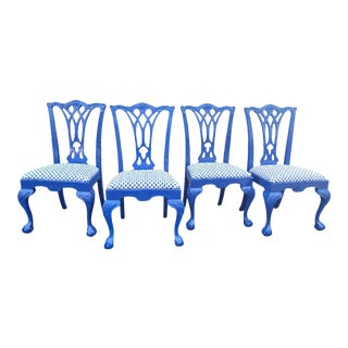 1980s Drexel Heritage Chippendale Chairs - Set of 4