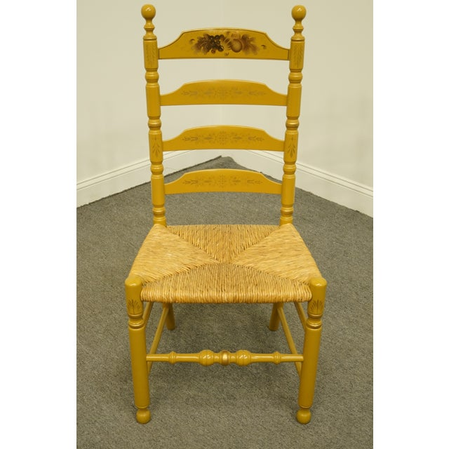 Traditional Late 20th Century Hitchcock Stenciled Ladder Back Accent Side Chair For Sale - Image 3 of 10