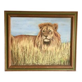 1980s Henri Bivens Original Lion Painting For Sale