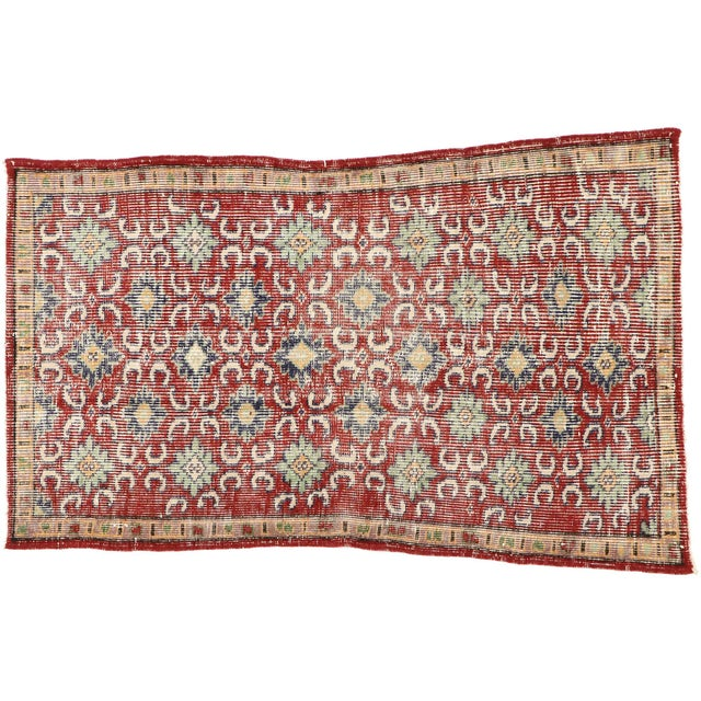 51896, Zeki Muren distressed vintage Turkish Sivas rug with modern rustic English style. Warm and inviting with a lovingly...