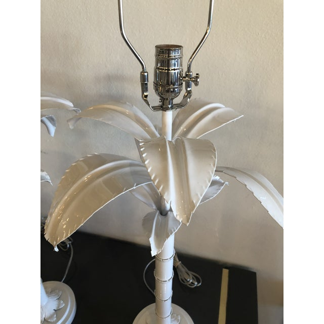 Vintage Hollywood Regency White Lacquered Chrome Lucite Palm Tree Table Lamps - A Pair For Sale - Image 10 of 13
