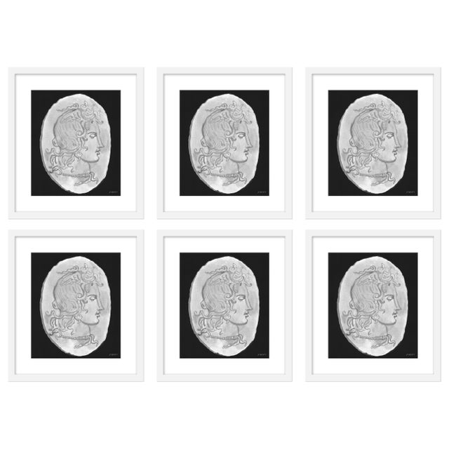"""Contemporary Large """"Medusa Black & White Coin, Set of 6"""" Print by Michelle Farro, 51"""" X 38"""" For Sale - Image 3 of 3"""