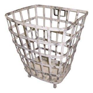 Industrial Iron Basket With Worn Painted Finish For Sale