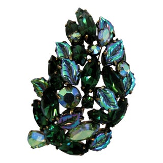 Vintage Blue and Green Regency Brooch For Sale