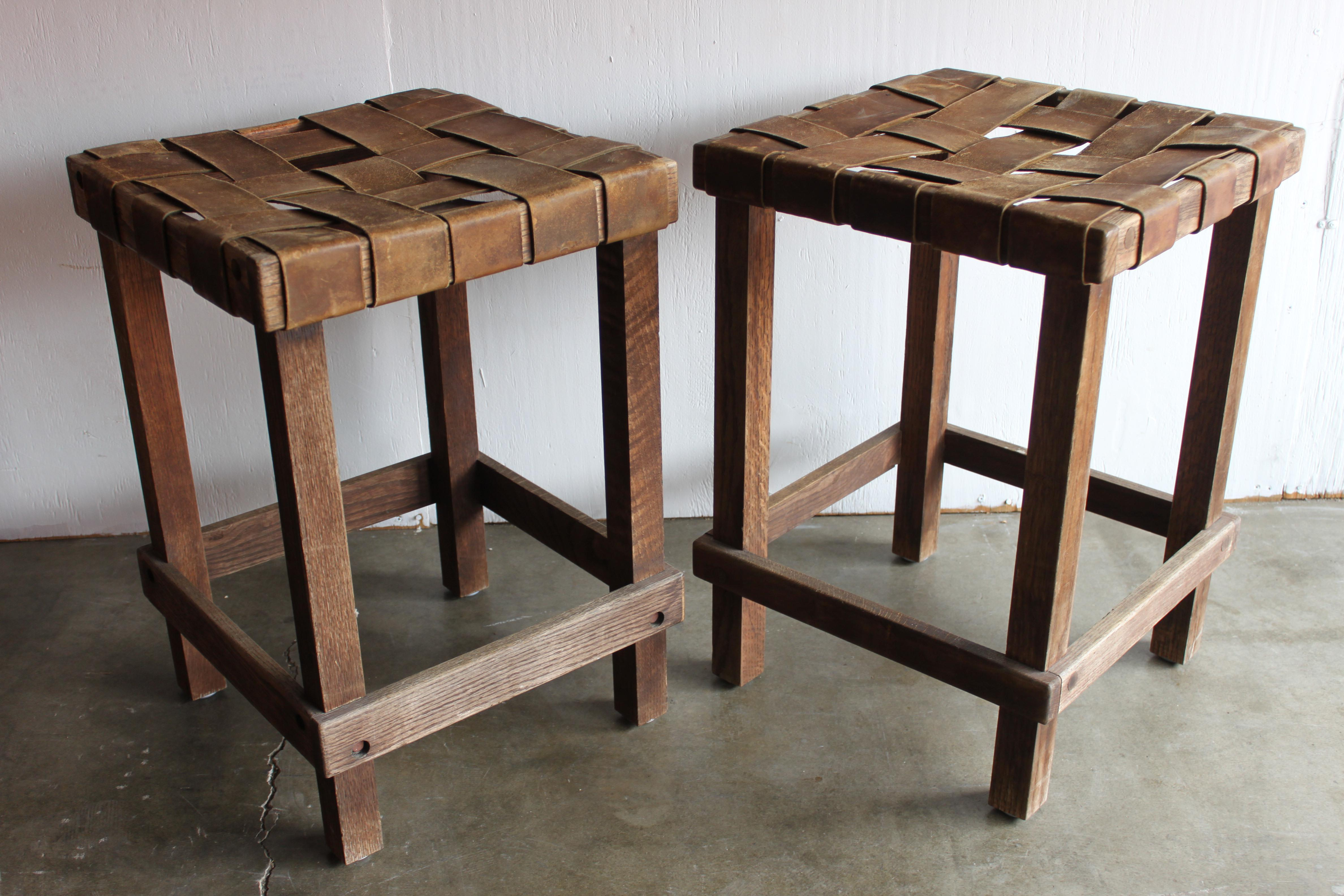 Antique Early California Rustic Leather Amp Oak Stools A