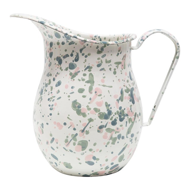 Crow Canyon Home Enamelware Catalina Large Pitcher in Mint Hibiscus For Sale