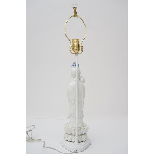 Ceramic Blanc De Chine Quan Yin Table Lamp For Sale - Image 7 of 10