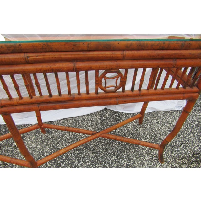 Chinoiserie Long Glass Topped Bamboo Sideboard Console Table For Sale - Image 4 of 6