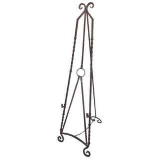 Equestrian Motif Faux Painted Wrought Iron Easel For Sale